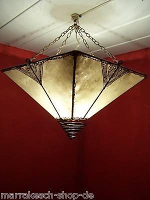 Orientalische Lampe Pendelleuchte Hängeleuchte Karima Natur 34cm Groß | Marokkanische Lederlampe Hennalampe Leuchte mit Henna | Orient Lampen für Wohnzimmer Küche oder Hängend über den Esstisch