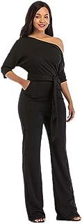 Women's Wide Leg Slanted One Shoulder Belted Jumpsuits