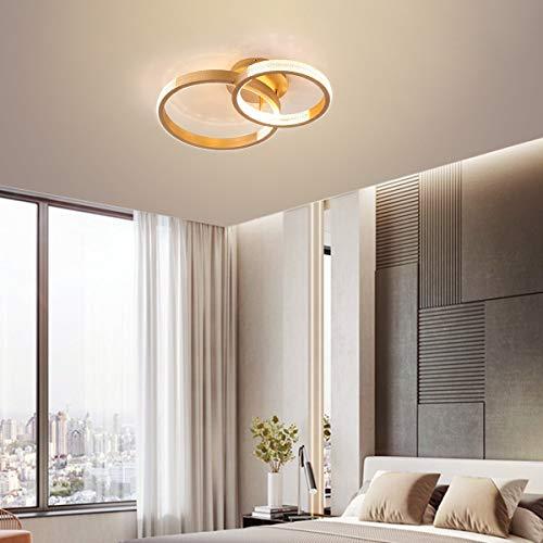 Ganeed Plafoniera a LED, 84W Dimmerabile Illuminazione a Soffitto con Due Cerchi, Lampada da Soffitto Moderna Lampadario in Cristallo Acrilico con Telecomando per Soggiorno Camera da Letto, Oro