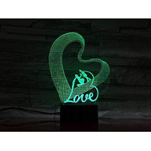 Amour Led-nachtlampje in hartvorm, 3D, acryl, USB, slaaplicht, 3 A, accu, vermogen, tafellamp, slaapkamer, decoratie, cadeau op afstand, telefoon, Bluetooth, kleurbesturing