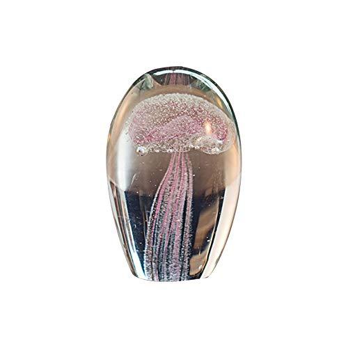 JUNCH - Meduse colorate in vetro fatto a mano, con fermacarte e cristalli, decorazione per la casa (viola)