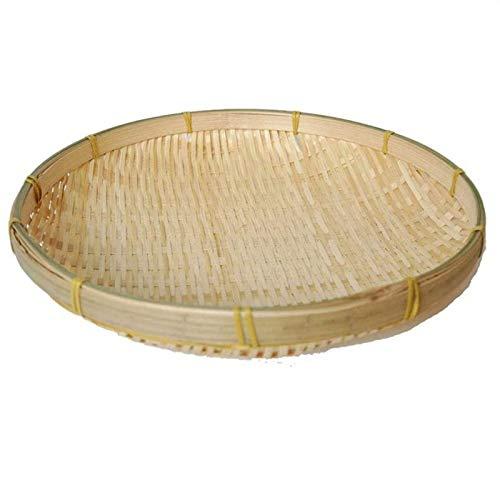QULONG Cesta de Picnic de bambú Hecha a Mano, Cesta de Plato, Bandeja de Granja, Bandeja de Fruta para Aperitivos, Cesta de bambú Redonda para Recoger Basura, Bandeja de refrescos, decoración de la