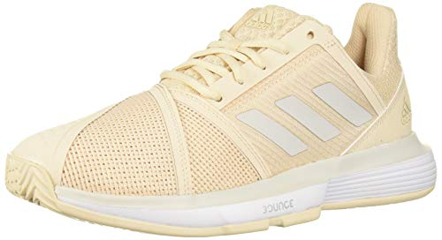 adidas Women's CourtJam Bounce Tennis Shoe, Linen/Grey/White, 9.5 M US