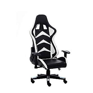 RAC TLV-A1010-WHITE Silla Gaming PC Videojuegos Racing Oficina Escritorio Sillon Gamer Despacho, Negro - Blanco