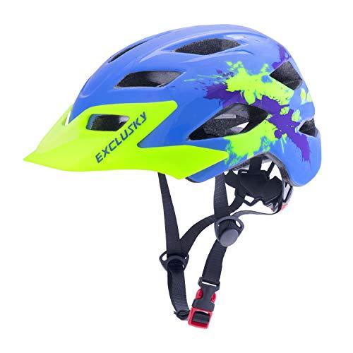 Exclusky Casco Bicicleta Niños Casco Infantil para BMX, Patinaje, Ciclismo, Monopatín, Scooter - Tamaño 50-57cm (Edades 5-13) (Azul Claro)