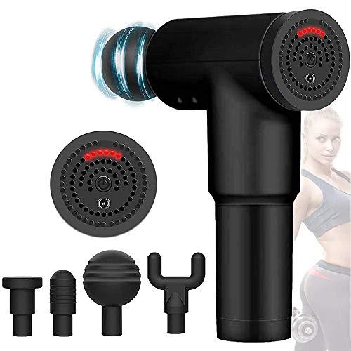 Handheld Percussion Massage Gun, tragbares Muskelmassagegerät zur Schmerzlinderung, elektrische Körpermassage DELT mit 4 austauschbaren Massageköpfen, 6 einstellbaren Geschwindigkeiten