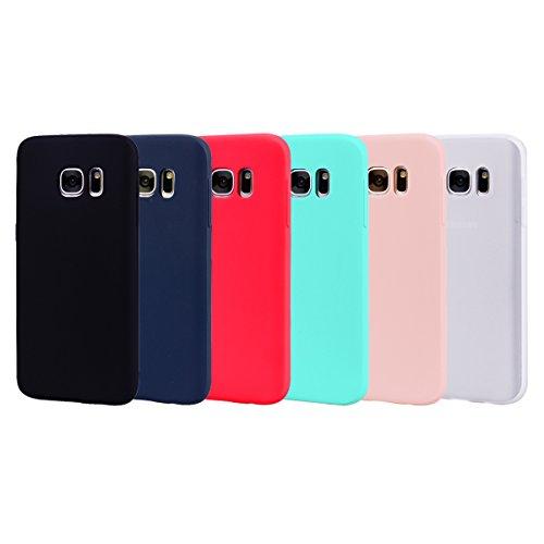Leton 6X Funda para Samsung Galaxy S6 Edge Silicona Ultrafina Case Suave Flexible TPU Carcasa Galaxy S6 Edge Ultra Delgado Gel Caja Anti Choque Candy Cubierta Jalea Bumper Negro Rojo Verde Rosa