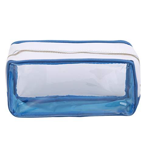 Ivyday Sac de Maquillage Transparent Portable Zipper Sac Transparent étanche Sac Cosmétique de Voyage,Bleu Royal