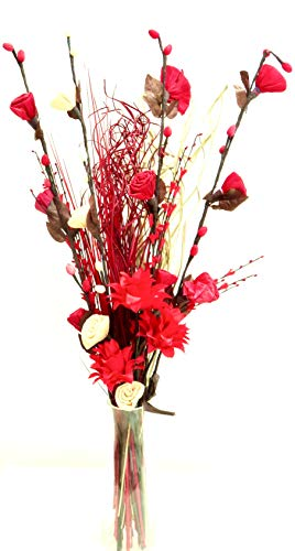 Exótico arreglo Floral orgánico hecho a mano, flores y hierbas grasas secas, Color rojo y crema, Altura: 90 cm aprox.