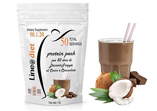Dieta Proteica PASTO SOSTITUTIVO Dimagrante|Frullati WHEY PROTEIN SHAKE Line@ 1 KG (50 Snack / 33 Pasti) (Cocco e Ciocco)
