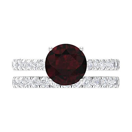 Anillo de compromiso único, gema de moissanita D-VSSI, anillo de granate solitario de 3 quilates, conjunto de anillos de boda, anillo de gemas, anillo de eternidad, 18K Oro blanco, Size:EU 59