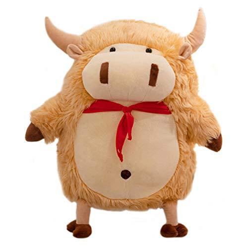 ABOOFAN Peluche de Juguete de Toro Lindo Peluche de Vaca Muñeca Figura Huggable Peluche Animal Almohada Juguete Ornamento para Regalo de Graduación Hogar Oficina Dormitorio Decoración