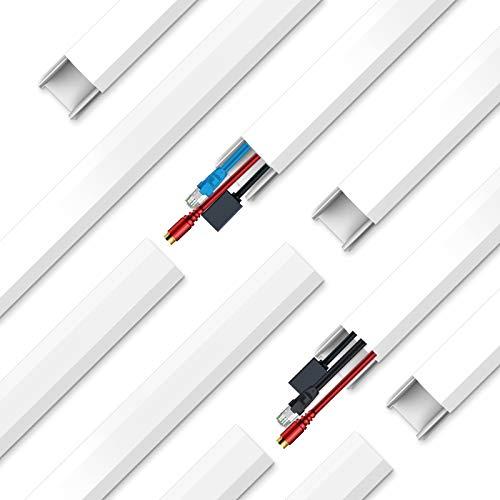 10 Stück Kabelkanal, Weiße Kabelkanal-Kit Selbstklebend Kabelabdeckung Versteckt TV-Stromkabel für Wand, Zuhause, Büro