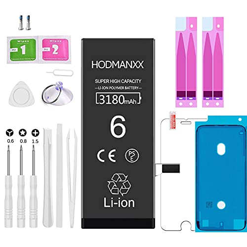 Hodmanxx Batteria Ad Alta Capacità Compatibile Per Iphone 6 3180mah Con Kit Di Strumenti Di Riparazione, Adesivo, Lastra Di Vetro Temperato