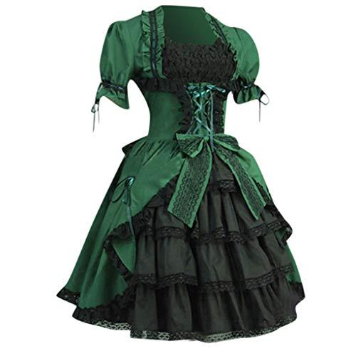 Lazzboy Frauen Vintage Gothic Court Square Kragen Patchwork Bow Kleid Burleske Verstärktes Korsett Mit Tutu Rock Karneval Fasching Kostüm Damen(Grün,5XL)
