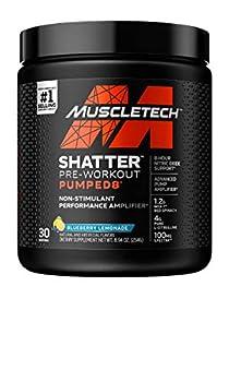 Stim Free Pre Workout   MuscleTech Shatter Pumped 8   Non Stimulant Pre Workout for Men & Women   8 Hour Nitric Oxide Booster   Stimulant Free Muscle Pump Amplifier   Blueberry Lemonade 30 Servings