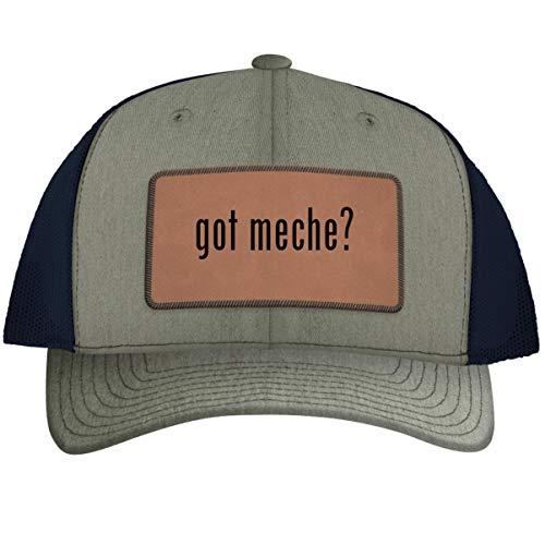 got Meche? - Leather Dark Brown Patch Engraved Trucker Hat, HeatherNavy, One Size