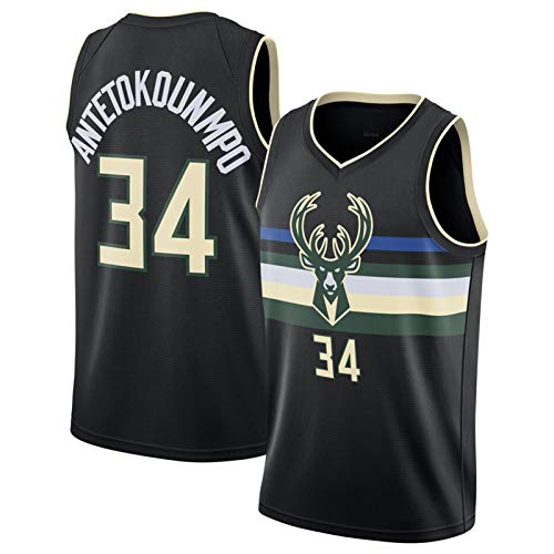 XPQY Giannis Antetokounmpo Trikot, Milwaukee Bucks City Edition # 34 Basketball Trikot Ärmelloses Polyester Basketball Uniform Atmungsaktives Outdoor-Sport-T-Shirt Black C-S