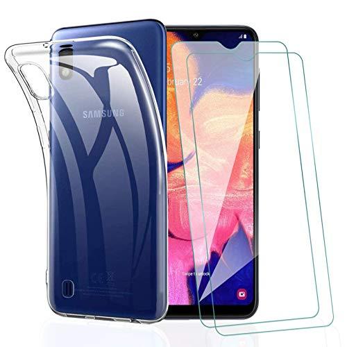 KEEPXYZ Funda para Samsung Galaxy A10 + 2 Pcs Protector de Pantalla para Samsung A10 Cristal Templado, Flexible Suave Silicona Transparente TPU Carcasa + Vidrio Templado para Samsung Galaxy A10