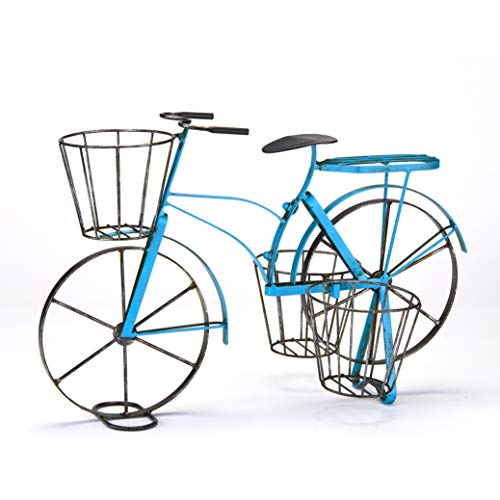 Vintage Metal Bike Planter with 3 Baskets for Potted Plants - Blue