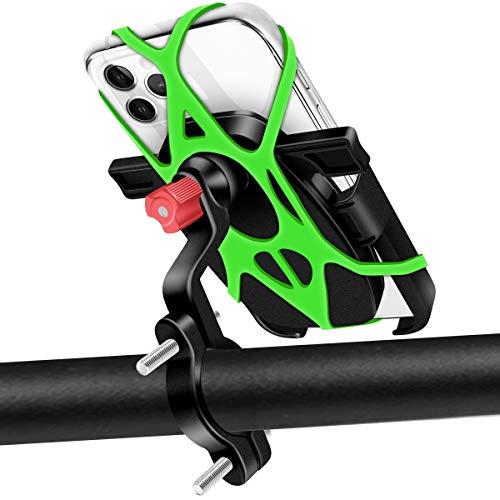 Soporte Movil Bici 360° Rotación Soporte Movil Moto Anti Vibración Aluminio Porta Teléfono Motocicleta MTB Scooter Soporte Universal Soporte para Movil Bicicleta para 4,7-6,5' Smartphones (Negro)