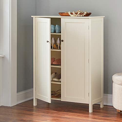 BrylaneHome Adelaide Multi-Use Shoe Cabinet, Whisper White
