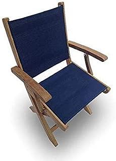 Royal Teak Collection SMCN Sailmate Teak Sling Folding Arm Chair, Navy, 24-Inch