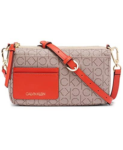 Calvin Klein Jana Novelty Convertible Crossbody & Belt Bag, Almond Taupe Crimson Linear