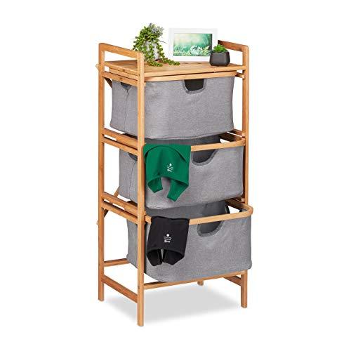 Relaxdays Wäschesortierer Bambus, 3 herausnehmbare Fächer, Bad & Schlafzimmer, Regal, HBT: 96 x 44 x 34,5 cm, Natur/grau