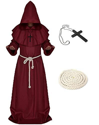 Xinlong Disfraz de monje medieval para Halloween, disfraz de monje, con capucha