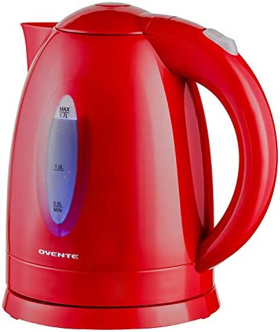 Ovente Electric Hot Water Kettle 1.7 Liter with LED Light, 1100 Watt BPA-Free Portable Tea Maker Fast Heating Element with Auto Shut-Off and Boil Dry Protection, Brew Coffee & Beverage, White KP72W