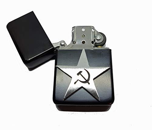 Stoneys Badges Benzinfeuerzeug, Stern, Hammer und Sichel, in Beutel, politischer russischer Slogan, englisches Zinn Emblem