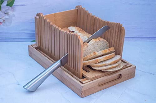Eco friendly Bamboo Bread Slicer Guide for homemade bread - includes 13' Stainless Steel Serrated Bread knife, Crumb Catcher, Serving tray and Foldable feature for easy storage.