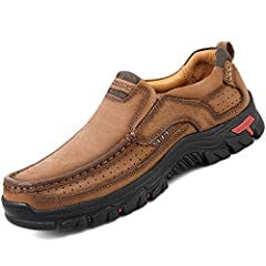 BREATHABLE UPPER----Breathable material with genuine leather upper for long lasting comfort, superior cushioning, and high energy return; superior quality of the casual sneakers provides excellent breathability and flexible, is soft and comfortable. ...