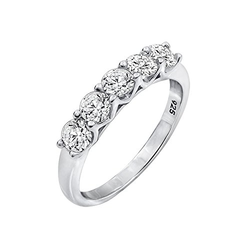 Diamonbliss Platinum Clad 100-Facet 5-Stone Cubic Zirconia Band Ring- Size 10