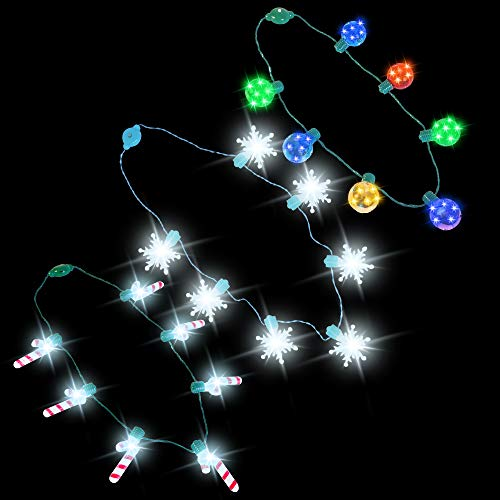JOYIN 3 PCS LED Light Up Disco, Candy, Snowflakes Necklaces with 6 Different Light Flashing Modes Party Accessories Supplies