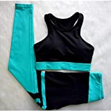 PJPPJH Pantalones de Seguridad de Cintura Alta, Mujeres Fitness Stripe Patchwork Fitness Wear Trajes Ropa Deportiva Ropa de Gimnasia Traje para Yoga Set