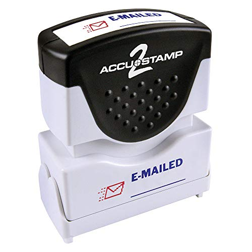 "ACCU-STAMP2 Message Stamp with Shutter, 2-Color, EMAILED, 1-5/8"" x 1/2"" Impression, Pre-Ink, Blue and Red Ink (035541)"