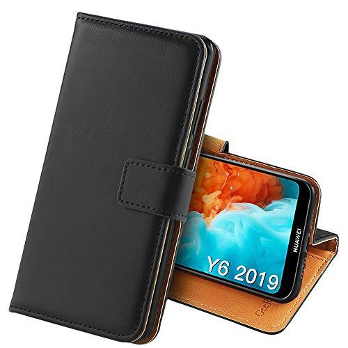 GeeRic Kompatibel Für Huawei Y6 2019 Hülle, [Standfunktion] [Kartenfach] [Magnet] [Anti-Rutsch] PU-Leder Schutzhülle Brieftasche Handyhülle Kompatibel Mit Huawei Y6 2019 Schwarz