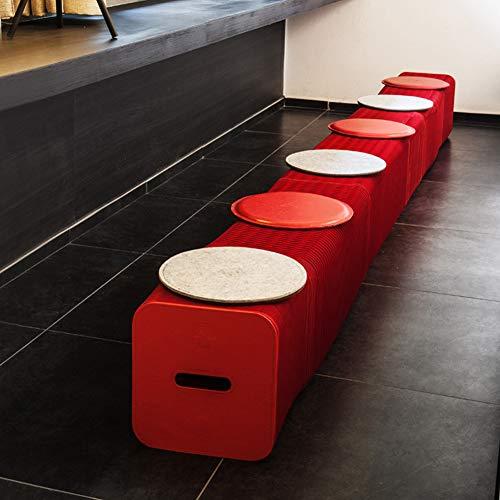 FMMXN Kreatives Papierfalten Hocker, Akkordeon Hocker, umweltfreundlich und haltbar Wohnzimmer Schlafzimmer Garten Außen Nordic Kreative Möbel Multi-Color Optional,Rot