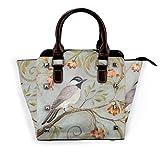 IUBBKI bolso de mano pájaro naranja flor ramas de cuero genuino bolso con remaches correa de hombro con asa superior para mujer