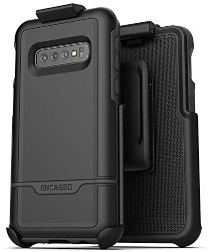 Encased Galaxy S10 Plus Belt Clip Protective Holster Case (2019 Rebel Armor) Heavy Duty Rugged Full Body Cover w/Holder (Black) for Samsung Galaxy S10+