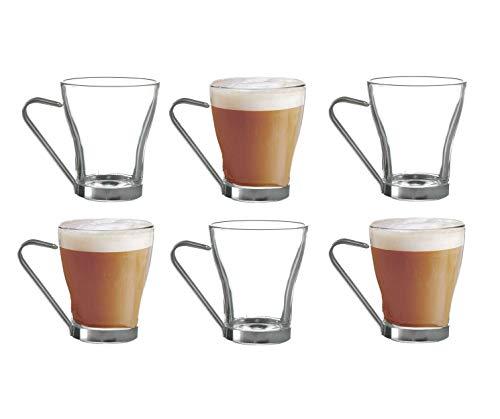 NAPOLI - Juego de 6 vasos de café con mango de metal, 22 cl, 220 ml, 6 unidades, cristal transparente, café expresso, capuchino, té helado.