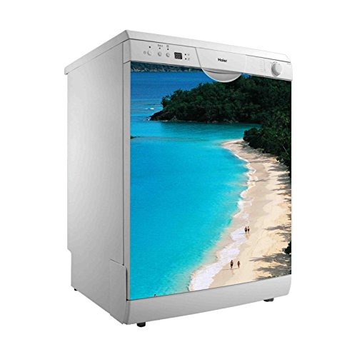 Vinilo para Lavavajillas Playa del Caribe   Varias Medidas 65 x 75 cm   Adhesivo Resistente y de Fácil Aplicación   Pegatina Adhesiva Decorativa de Diseño Elegante