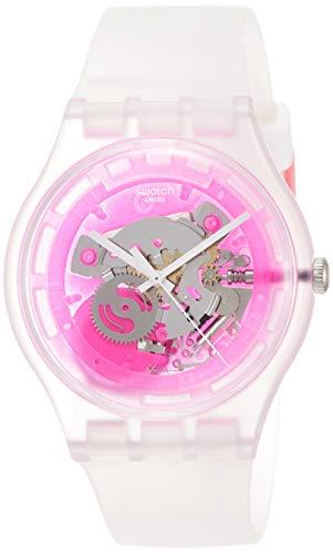 Swatch Damen-Armbanduhr Armband Silikon Durchsichtig Schweizer Quarz SUOK130
