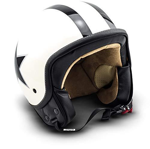 "SOXON® SP-301 Star ""Creme"" · Jet-Helm · Motorrad-Helm Roller-Helm Scooter-Helm Moped Mofa-Helm Chopper Retro Vespa Vintage Pilot Biker Helmet Brille · ECE 22.05 Schnellverschluss Tasche M (57-58cm)"