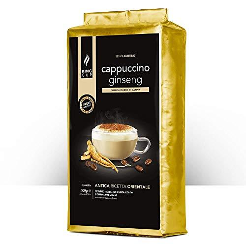 King Cup - 1 Bolsa de 500 gr de Preparación en Polvo de Capuchino Soluble en Ginseng con Azúcar Morena, ideal para Agregar al Agua Caliente, sin Gluten, sin Transgénicos