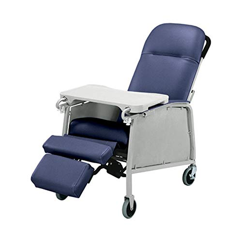 Graham-Field Lumex Three-Position Clinical Care Recliner with Swivel Casters, Blue Ridge, 574G427