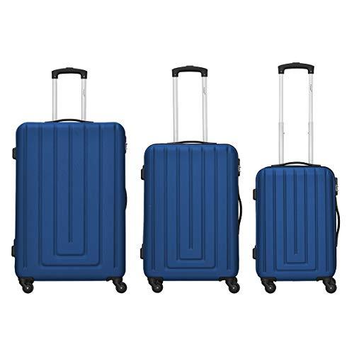 Packenger Kofferset - Razor - 3-teilig (M, L & XL), 4 Rollen, Koffer mit Zahlenschloss, Hartschalenkoffer (ABS) Robuster Trolley Reisekoffer (Dunkelblau)