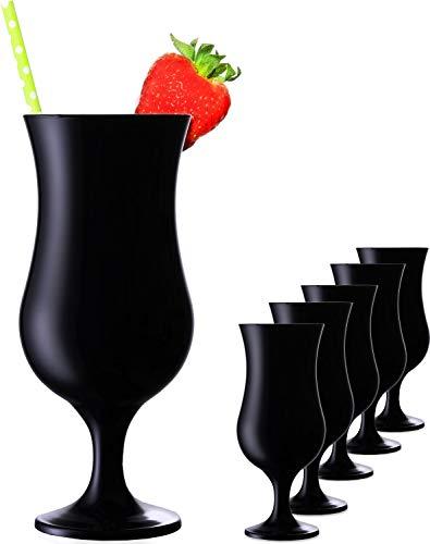 Juego de vasos de cóctel negros de 400 ml (6 piezas) vasos largos para fiesta de cristal Milkshake de cristal grande